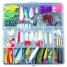 100 Fishing Lures Spinners Plugs Spoons Soft Bait Pike Trout Salmon+Box Set W0W0