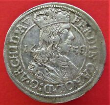 Silver Medieval Coin 1658. 3 Austro-Hungarian kreuzer