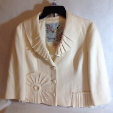 TABITHA ANTHROPOLOGIE wool blend Ruffled IVORY JACKET BLAZER SIZE 10