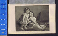 Little Girls Playing with Jack in the Box Toy - 1878 Engraved Print