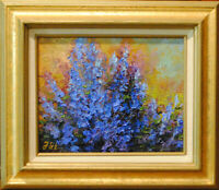 "Sage. Original framed oil on canvas 8""x10"" floral impressionistic painting"