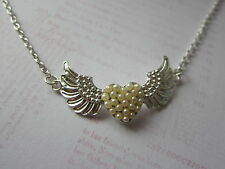 "Winged Love Heart with Pearl Detail 18"" Silver Plated Necklace New Wife Gift"