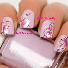 Nail Wraps Art Decals Water Transfers Pink Floral Flower Silver Lily YD725