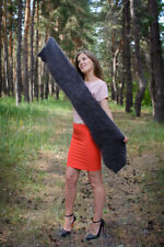 Gray winter scarf Wrap Hand knitted goat down cashmere craft Unisex 58x9,5 inch