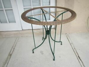 Vintage Patio Wicker And Green Metal Round Table No Glass Top