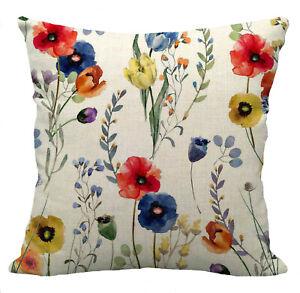 Kissenhülle Kissenbezug Motivkissen floral Blumenmuster Canvas-Stoff Baumwolle