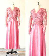 Vintage 70s does 1940s Lace Peplum Pink Maxi Dress