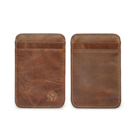 Genuine Leather Men Small ID Credit Card Wallet Holder Slim Pocket Case Brown JT