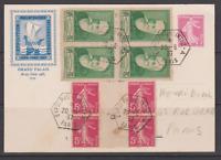 FRANCE CARTE ENTIER EXPO 1937 2 BLOCS DE 4 ANATOLE F. SEMEUSES INTERPANNEAU