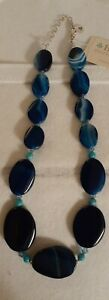 "Designer Sterling Silver Blue Agate Turquoise Topaz Crystal 16"" Beaded Necklace"
