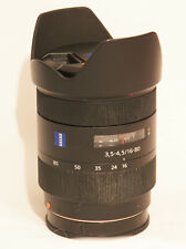 Zeiss vario sonnar 16-80mm f3.5-4.5 zoom lens for Sony A mount. Very good.