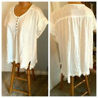 UMGEE IVORY GAUZY COTTON W/ RAGOUT TRIM  PEASANT TOP BOHO ROOMY COMFORT SZ L