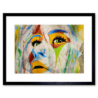 Graffiti Woman Face Multicolour Art Print Framed Poster Wall Decor
