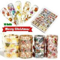 10 x CHRISTMAS Nail Art Foils Nail Transfer Foil Wraps Decal Glitter Sticker UK