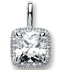 """RHODIUM POLISHED 925 HALLMARKED STERLING SILVER RADIANT HALO PENDANT & 18"""" CHAIN"""