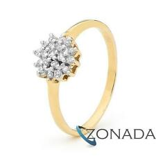 Classic Natual Simulated Diaomond 9k 9ct Solid Yellow Gold Cluster Dress Rings