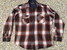 DAVID HARRISON ~ Vtg Brown Plaid Flannel Lumberjack Shirt ~ LARGE ~ 16-16.5