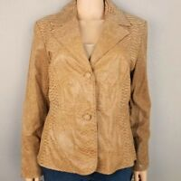 NWT Pamela McCoy Genuine Leather Jacket Brown Blazer Snake Skin Pattern Large