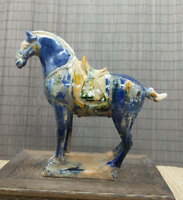 20.8cm Chinese Ceramics Tri-Color Glazed Pottery Tang Dynasty War-horse Statue