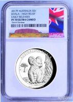 2017 P Australia HIGH RELIEF 1oz Silver Koala $1 Coin NGC PF70 ER NEW LABEL COA