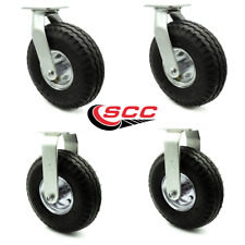 """Service Caster - 10"""" Pneumatic Wheel – 2 Swivel and 2 Rigid Casters - Set of 4"""