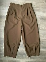 NWOT Zara High Waisted Slouchy Trouser Pants Size Large Brown