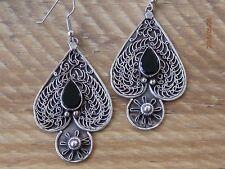 Sterling Silver & Black Onyx Scrollwork/Filigree Spade Earrings