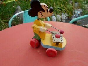 Jouet en Bois Mickey avec Instrument de Musique Periode 1950 1960