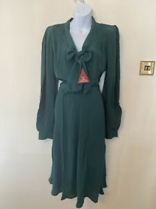 The Seamstress Of Bloomsbury Eva Dress In Vintage Green Size 14 BNWT RRP £89