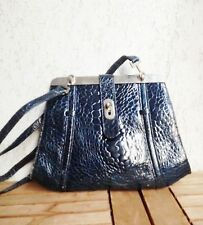 CROCODILE  BAG BLUE SHOULDER BAG GENUINE LEATHER MADE IN ITALY 1950s