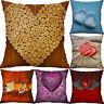 18'' Heart Pattern Cotton Linen Cushion Cover Pillow case Sofa Home Decor