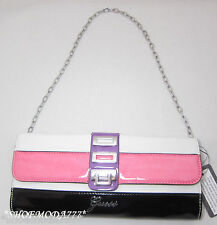 GUESS ASTRELLA Mini Bag Flap Purse Clutch Black Pink White Multi Patent Chain