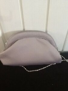 womens m&s grey silver clutch chain shoulder bag wedding evening holiday new