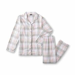 Joe Boxer Women's Pink Grey Plaid Buffalo Check 2-Pc Flannel Pajama PJ Set