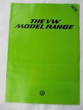 VW Model Range  - 1977 UK Market Sales Brochure. Printed in Germany