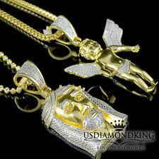Plata de Ley Ángel Jesús Diamante Original Colgante + Cadena Amarillo Acabado