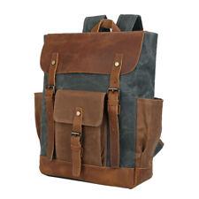 Oil Wax Canvas&Leather Mens 15.6''Laptop Backpack Shoulder BagTravel Hiking Tote