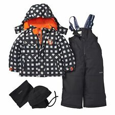 OshKosh Toddler Boys 4~PC Plaid Ski Snowsuit Jacket Bib Hat Neck Warmer 18M NWT