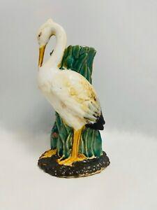 Vintage DECO White Heron Vase Pottery Unsigned no backstamp