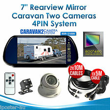 "Car Rear View Mirror 7"" Monitor+2x Reversing CCD Camera 4PIN For Caravan Trailer"