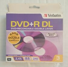 Verbatim Double Layer DVD+R DL 3-Disc PK in Standard Jewel Cases 8X 8.5GB #95014