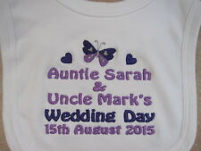 Personalised Baby Bib - Embroidered - Wedding - Butterfly & Hearts - Gift/Favour