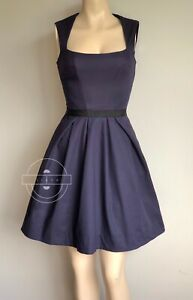 CUE Purple Fit & Flare Dress Size 6 With Pockets