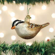 White Crowned Sparrow Glass Ornament