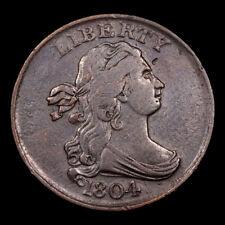 BEAUTIFUL 1804 CROSSLET 4, STEMS DRAPED BUST HALF CENT XF TRENDS $ 425.00