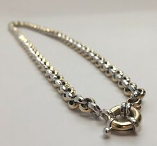 ITALY, Au, 14k Two Toned Gold, Round Cable Link, 17in Necklace.