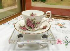 """VINTAGE ROYAL SUTHERLAND ENGLAND PINK ROSES 2 7/8"""" CUP & SAUCER SET"""