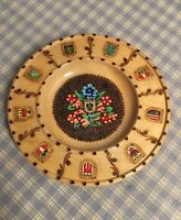 "Austria Osterreich Decorative 7-1/8"" Plate Hand Painted On Wood . Wood Burned"