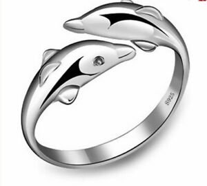 S925 Sterling Silver Love Dolphin Adjustable Ring Women's Fashion Jewelry Gift