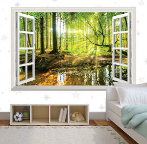 Green Tree Wall Mural Forest Window Wall Sticker Art Vinyl Decal Decor Mural